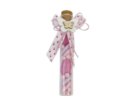 Bomboniera Fiala Vetro Battesimo/nascite Farfalla Rosa