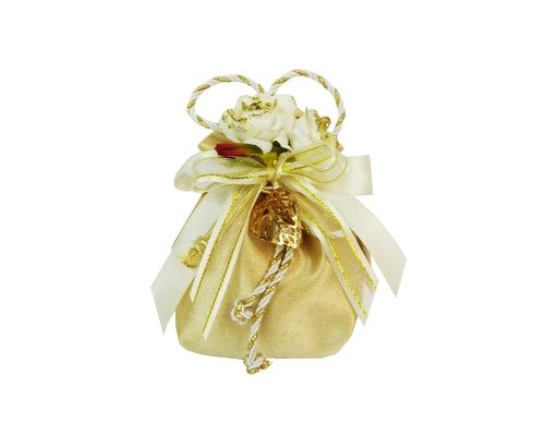 Bomboniera Sacchetto Oro Con Roselline Glitter 50esimo
