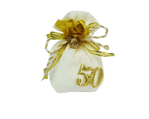 Bomboniera Sacchetto 10 Cm Avorio/oro Lux Icosaedro E Diamantino