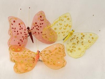 Farfalla Con Molletta, Paillettes E Perle 23x17 Cm
