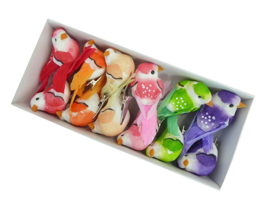 Pz 12 Uccellino Con Mollettina Colorato Ass. Cm 7 Decorazione Primavera