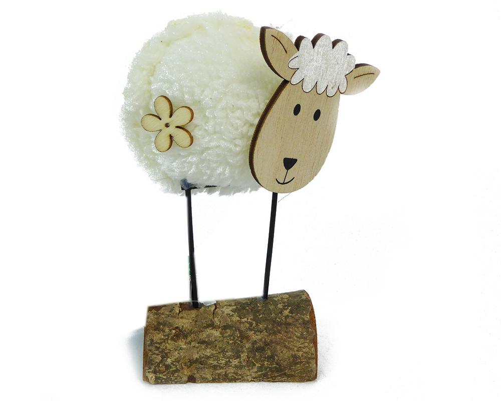 Pecorella Morbida Su Base Legno Grande 7xH.14 Cm Decoro Primavera Pasqua