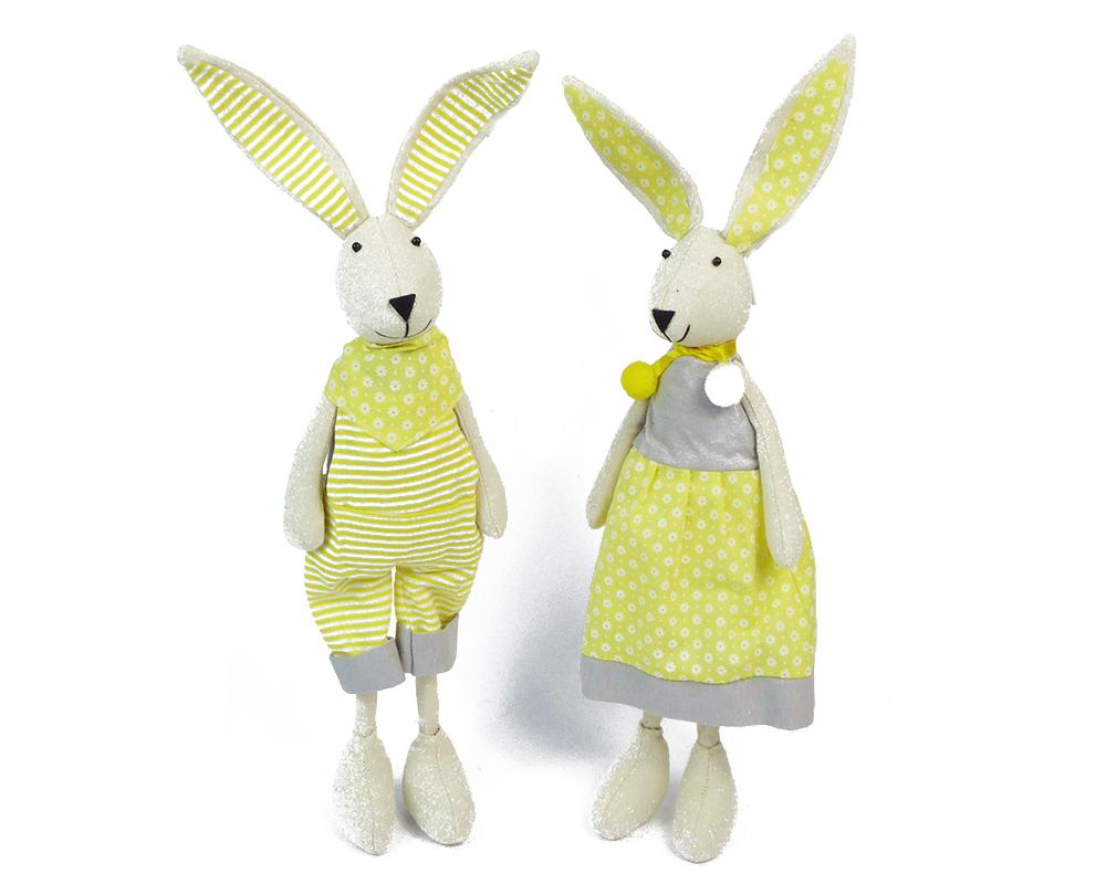 Coniglio Stoffa Giallo H.33 Cm Vestito Decorazione Arredo Primavera Pasqua