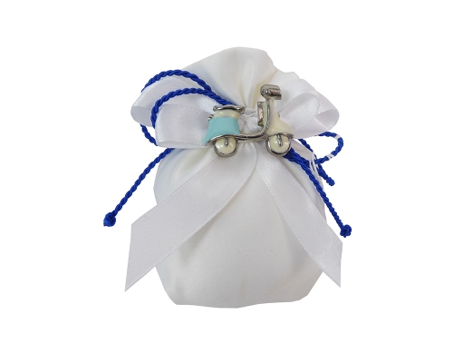 Bomboniera Sacchetto Bianco Applicazione Spilla Vespa Resina