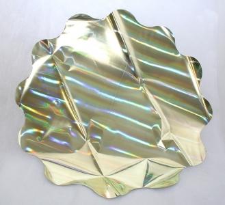 25 Sottovasi Ologramma Giallo Retro Argentato Diametro 70 Cm 35 Micron