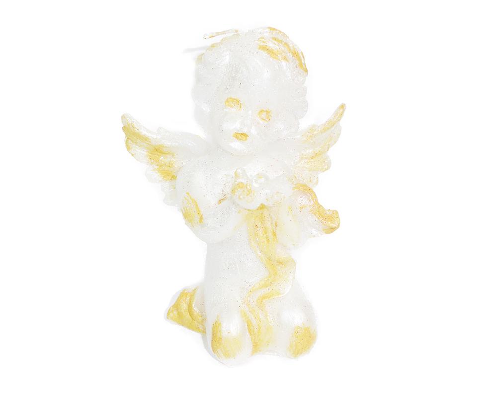 Cero Candela Angelo Perlato Glitter Oro 20x11x7 Cm Decoro Arredo Natale