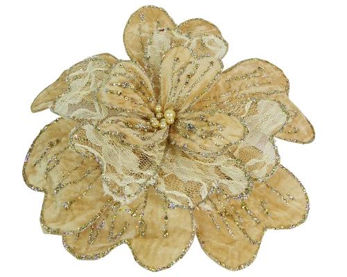 Palla Natalizia A Fiore Rete Champagne Glitter Con Clip Centrale Con Perle 35 Cm