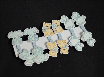 12 Clip Mollette Con Tre Soggetti 5.5x6 Cm