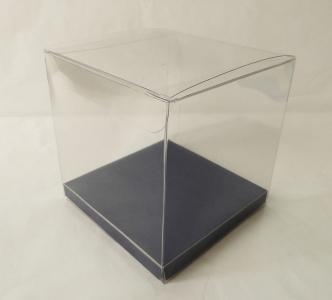 Scatole Trasparenti Fondo Blu 10x10x10 Cm 10 Pezzi