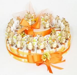 Torta Bomboniere Arancione Con Farfalle In Resina