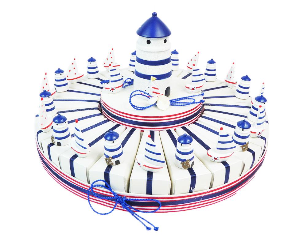Torta Bomboniera 24 Fette E Centrale Faro Salvadanaio Linea Mare