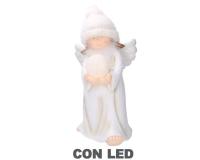 Angelo Resina Bianco Con Cappello E Sfera Con Luci LED 25 X 24 H 50 Cm