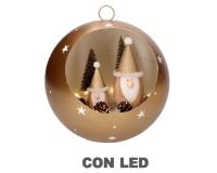 Palla Oro Metallo Natale Con Babbi E Led 22 H 18 Decorazione Albero