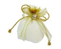Bomboniera Sacchetto 10 Cm Cotone Lux Sfera Fiorata Nozze D'oro