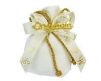 Bomboniera Sacchetto 10 Cm Avorio/oro Lux Scritta Cinquanta Nozze