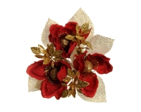 Girocandela Magnolia Rossa Foglie Oro D. 2,5 6 Pz Natale