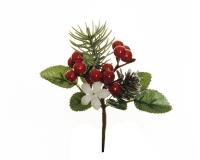 Pick Pino/bacche/pigna Pz 12 Decorazione Natale Addobbi