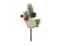 Pick Pino/bacche Cotone Pz 6 Decorazione Addobbo Natale