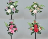 Busch Rose Frontale Rosa Ortensia Fiori Artificiali Composizione X7