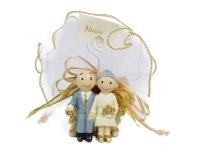 Bomboniera Nozze Oro 50esimo Sposi Su Panchina Con Tulle Portaconfetti