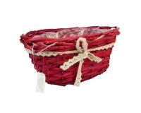 Cesto Ovale Rosso Fiocco D. 16 Composizione Floreale Fioristi