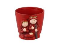 Cachepot Nativita 18x15 H. 14 Natalizio Rosso Decorazione Vaso