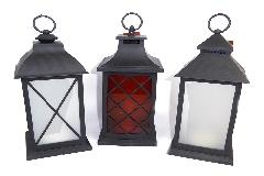 Lanterna Led 13,5xH.32 Cm In Plexiglass Fuoco Simile Reale Arredo Natale