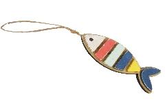 Pesce Legno Colorato Con Corda Decoro Mare 20 Cm