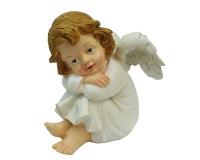 Angelo Bianco Seduto Cm 12,7 Decorazione Addobbo Natalizio