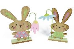 Coniglietto Legno Cm 15x20 Decorazione Arredo Primavera Pasqua