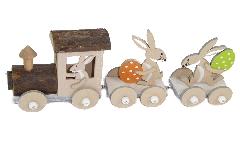 Trenino In Legno Con Conigli 30x10 Cm Primavera Pasqua