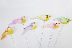 Pick Uccellino Cm 4 Pz 24 Colorato Assortito Decorazione Primavera