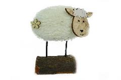 Pecorella Morbida Su Base Piccola Tronco Legno 6xH.11 Cm Primavera Pasqua