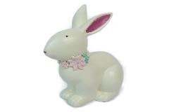Coniglio Bianco Con Fiori Resina Grande 20x25 Cm Decorazione Primavera Pasqua