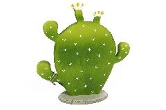 Cactus Legno Ovale 17x21 Cm Decorazione Arredo Primavera Estate Esotica