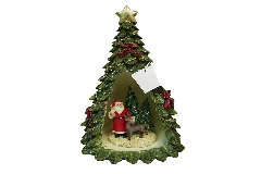 Albero Natale Resina C/ Babbo E Luce Cm 26