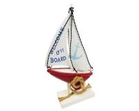 Barca A Vela Legno Metallo Cm 27,5 Linea Mare Estate