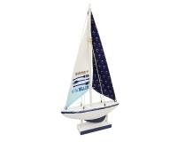 Barca Legno Bianca E Blu 32x7 H. 55 Decorazione Linea Mare