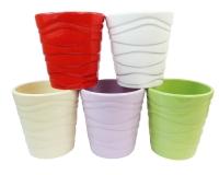 Vaso Colorato Ceramica Onde D. 13,5 H. 14 Decorazione Piante