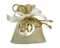Bomboniera Sacchetto Wedding Matrimonio Nozze Oro Portachiavi 50