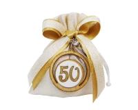 Bomboniera Matrimonio Nozze Oro Sacchetto 50 Portachiavi Legno