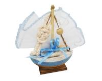 Bomboniera Matrimonio Linea Mare Barca Sughero Sacchetto Bordato