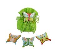 Bomboniera Sacchetto Cotone Verde Diciottesimo Farfalla Ceramica