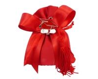 Bomboniera Sacchetto Raso Rosso Ciondolo Cappello Laurea In Metallo Rosso