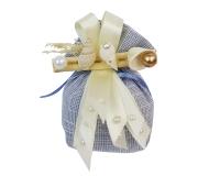 Bomboniera Matrimonio Linea Mare Saccotto Conchiglie Perle Azzurro