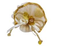 Bomboniera Tulle Organza Oro Con Fiore E Cuore Luz Nozze oro