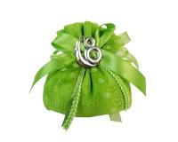 Bomboniera Sacchetto Cotone Verde Diciottesimo 18 Metallo