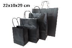 Pz 25 Shopper Carta Sealing Nera 22x10x29 Cm Confezionamento Regali
