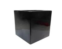 Cubo Ceramica Nero Lucido 13,5x13,5x13,5 Composizione Floreale