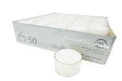 Pz 50 Tealight PVC Trasparente Candela D. 3,5 X H.2,5 Cm Durata 8h